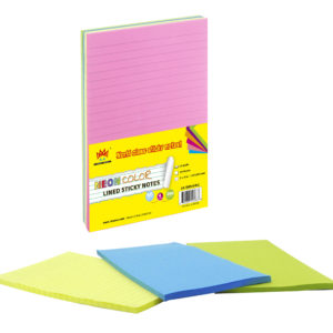 4A Sticky Notes,5 x 8 Inches,Neon Assorted,Lined,4 Neon Colors,50 Sheets/Pad,4 Pads/Pack,200 Sheets/Pack,4A 5084-N-L